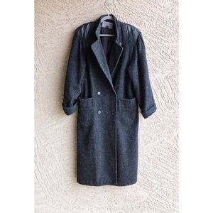 VTG Wool Blend Double Breasted Coat w Leather Trim